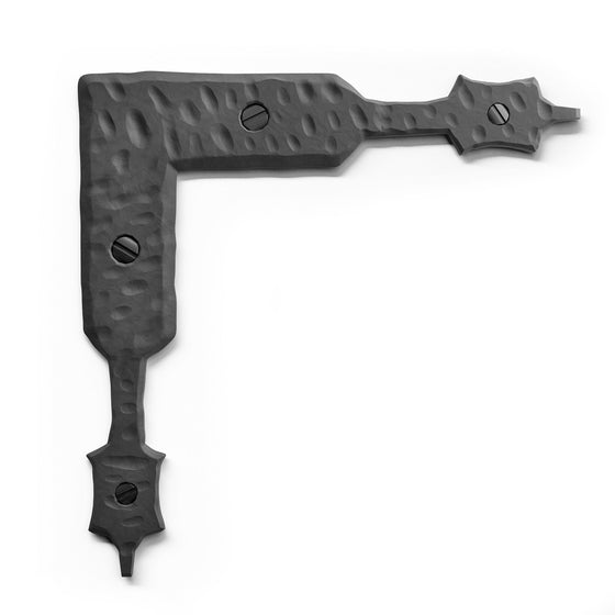 Borderland Rustic Hardware Blacksmith Forged Iron Steel Hammered Decorative For Barn Doors Gates Garage Puertas Shutters Furniture Old World Colonial Farmhouse Decor DIY woodworking carpentry Spanish Mexican Crafted Handmade Medieval Restoration Iron Vallley Old West Iron Cabin Lodge Metalworking Trunk Chests L Corner Bracket Braces Soportes