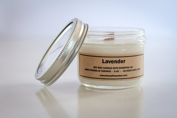 <b>lavender</b> organic soy wax candle with wood wick
