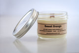 <b>sweet orange</b> all natural wax candle with wood wick
