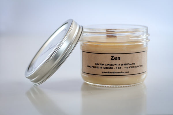 <b>zen</b> organic soy wax candle with wood wick