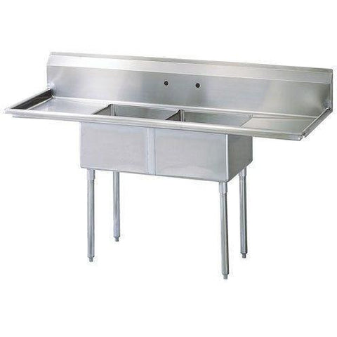 stainless steel 2 compartment sinks