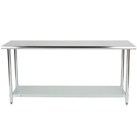 Stainless Steel Work Table w/ Galvanized Undershelf 24 x 72 x 36 - Commercial Kitchen USA