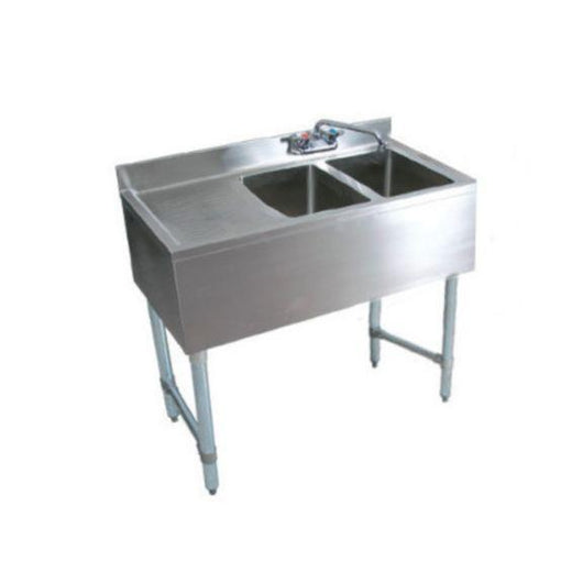 Royal Alliance 2 Bowl Underbar Sink with Faucet and Right Drainboard - 36