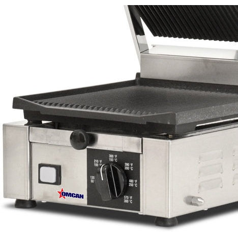 Commercial Kitchen Countertop Single Ribbed Panini Grill 10\