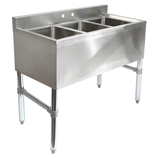 3 Compartment Stainless Steel Underbar Sink - Commercial Kitchen USA
