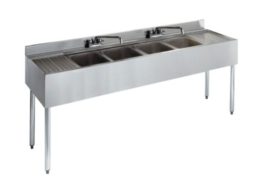 Royal Alliance 4 Compartment Underbar Sink with 2 Drainboards 72