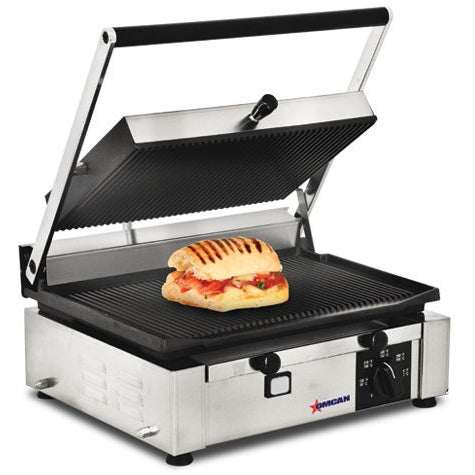 Commercial Kitchen Countertop Single Ribbed Panini Grill 10