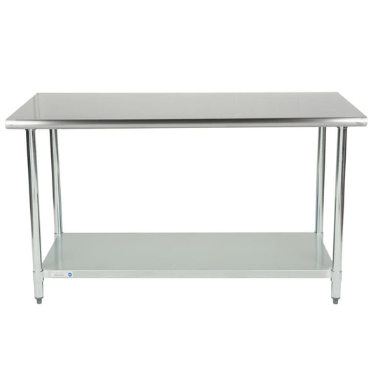 Stainless Steel Work Table w/ Galvanized Undershelf 30 x 60 x 36 for Pickup - Commercial Kitchen USA