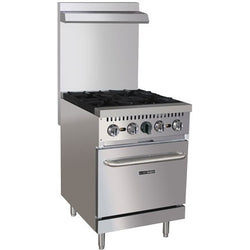 Commercial Kitchen Stainless Steel 4 Burner Range 150,000 BTU with Oven - Commercial Kitchen USA