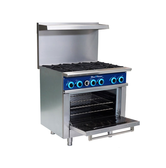 Blue Flame Commercial 6 Burner Restaurant Range with Oven - Commercial Kitchen USA