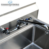 "8"" Center Splash-Mount Faucet with 8"" Spout NSF Certified - Commercial Kitchen USA"