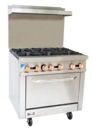 Copper Beech Range CBR-6 6 Burner Gas Commercial Range Oven 1 Year Warranty w Casters - Commercial Kitchen USA