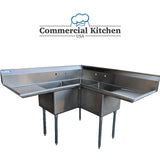 "Commercial 3 Compartment Stainless Steel Corner Sink 57"" x 57"" NSF Certified BUNDLE with Mifab Lil' Max Plastic Grease Interceptor 15 GPM 30LB MI-G-3-PL for Pickup - Commercial Kitchen USA"