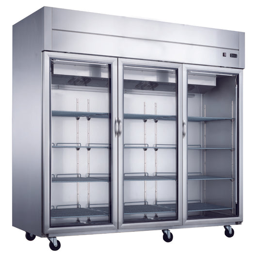 D83AR-GS3 Top Mount Glass 3-Door Commercial Reach-in Refrigerator - Commercial Kitchen USA