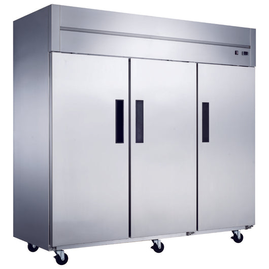 D83AR Commercial 3-Door Top Mount Refrigerator in Stainless Steel - Commercial Kitchen USA