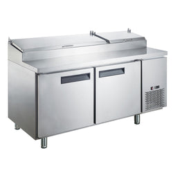 Dukers DPP70 17.5 cu. ft. Commercial 2-Door Pizza Prep Table Refrigerator - Commercial Kitchen USA