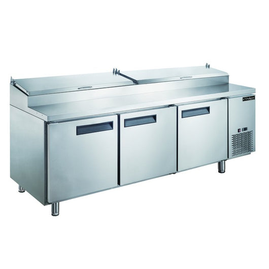 Dukers DPP90 24.8 cu. ft. Commercial 3-Door Pizza Prep Table Refrigerator - Commercial Kitchen USA