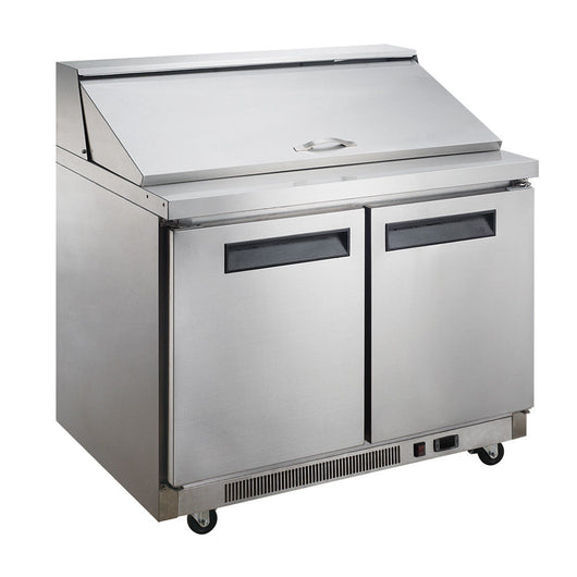 Dukers DSP48 11.4 cu. ft. 2-Door Commercial Food Prep Table Refrigerator in Stainless Steel - Commercial Kitchen USA