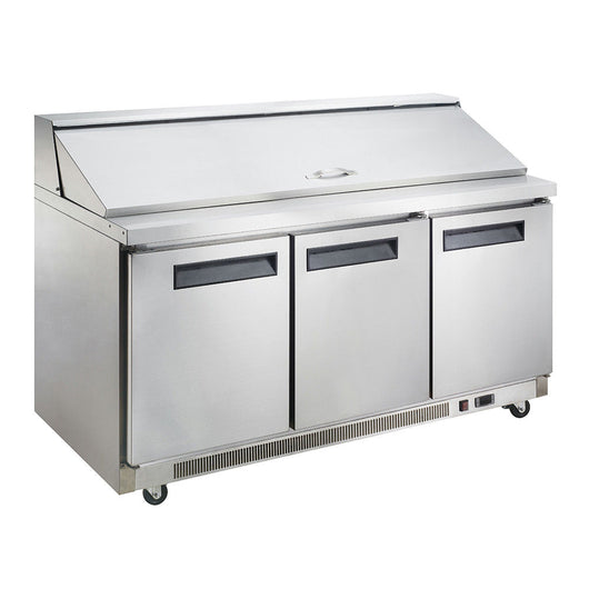 Dukers DSP72 17.5 cu. ft. 3-Door Commercial Food Prep Table Refrigerator in Stainless Steel - Commercial Kitchen USA