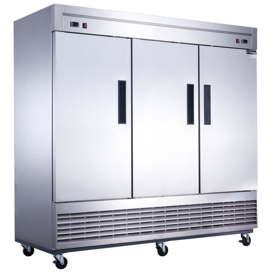 Dukers D83RF 3-Door Dual Zone Refrigerator & Freezer in Stainless Steel - Commercial Kitchen USA