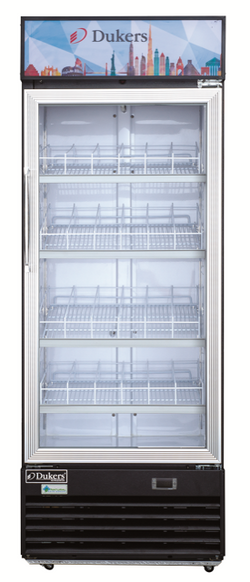 Dukers DSM-19R 18.7 cu. ft. Commercial Single Glass Swing Door Merchandiser Refrigerator - Commercial Kitchen USA
