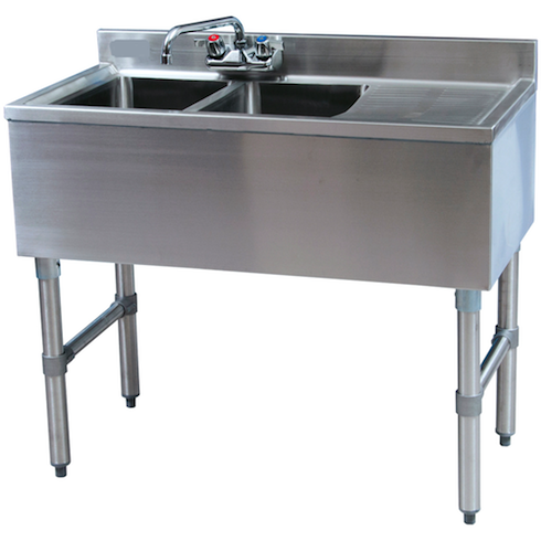 Royal Alliance 2 Compartment Underbar Sink w/ Right Drainboard 36