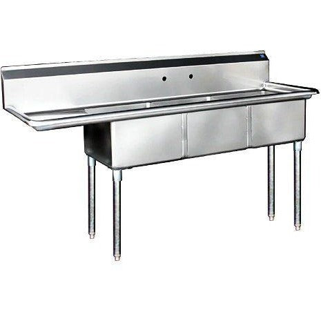 Stainless Steel 3 Compartment Sink 62.5