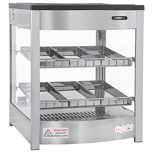 Skyfood | Food Warmer Display Case - DOUBLE SHELF 6 PANS - STEAM LINE - FWD2S6P for Pickup - Commercial Kitchen USA