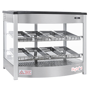 Skyfood | Food Warmer Display Case - DOUBLE SHELF 8 PANS - STEAM LINE - FWD2S8P for Pickup - Commercial Kitchen USA