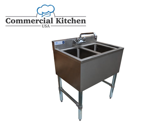 Royal Alliance 2 Compartment Stainless Steel Underbar Sink 26