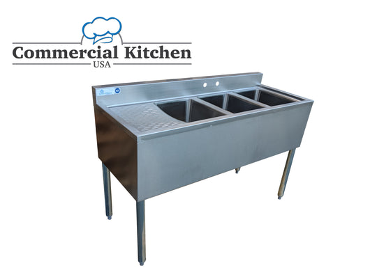 Royal Alliance 3 Compartment Underbar Sink w/ Left Drainboard 48