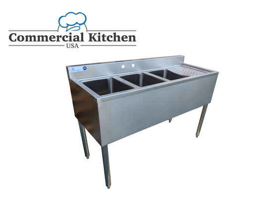 Royal Alliance- 3 Compartment Underbar Sink w/ Right Drainboard 48