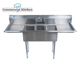 "Stainless Steel 2 Compartment Sink 72"" x 24"" with 2 Drainboards NSF Certified - Commercial Kitchen USA"