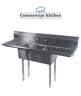 "Stainless Steel 3 Compartment Sink 60"" x 20""  with 2 Drainboards - Commercial Kitchen USA"