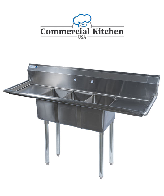 Stainless Steel 3 Compartment Sink 60