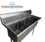 "Stainless Steel 3 Compartment Sink 50.5"" x 21""  NSF Certified - Commercial Kitchen USA"