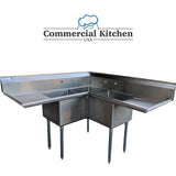 "Commercial 3 Compartment Stainless Steel Corner Sink 57"" x 57"" NSF Certified BUNDLE with 2 Faucets & 2 Wall Mount Faucet Mounting Kits Pick Up Price - Commercial Kitchen USA"