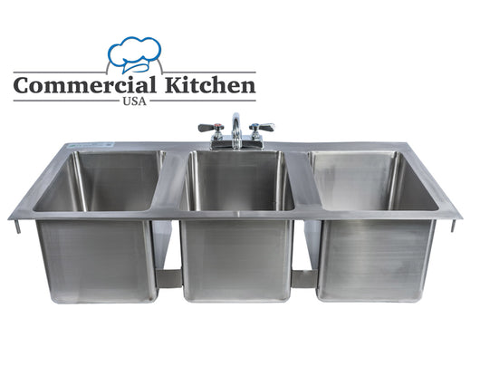 Stainless Steel 3 Compartment Drop-In Sink 50