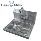 "Stainless Steel Wall-Mount Hand Sink 12"" x 16"" with Faucet & Drain - Commercial Kitchen USA"
