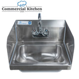 "Stainless Steel Wall-Mount Hand Sink 12"" x 16"" with Faucet & Drain & Sidesplashes - Commercial Kitchen USA"
