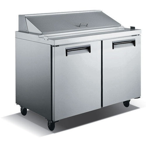 Commercial Stainless Steel Refrigerated Salad/Sandwich Prep Table – 2 Door, 48″ - Commercial Kitchen USA