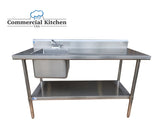 "Stainless Steel Wok Prep Table 30"" x 60"" with Sink on Left with Faucet - Commercial Kitchen USA"