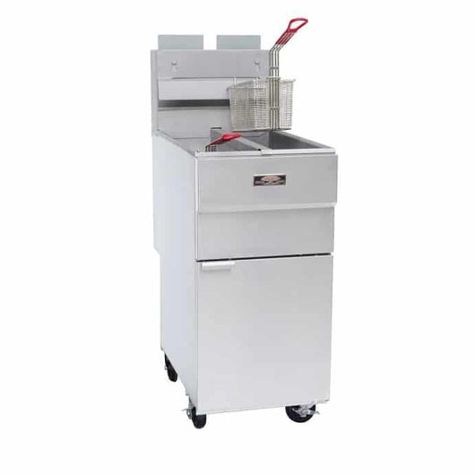 Copper Beech Range CBF-2525 Split Pot Deep Fryer with Casters 1 Year Warranty - Commercial Kitchen USA