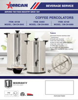 Omcan 43462 COFFEE PERCOLATOR 9.6 L / 2.53 GAL 65 CUPS 1500-CM-CN-0065 - Commercial Kitchen USA