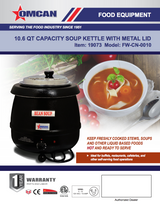 Omcan 19073 10.6 QT SOUP KETTLE WITH METAL LID-FW-CN-0010 Free Shipping - Commercial Kitchen USA