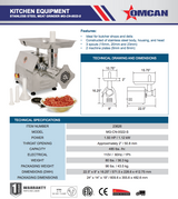 Omcan 23626 #22 STAINLESS STEEL MEAT GRINDER WITH 1.5 HP MOTOR MG-CN-0022-S - Commercial Kitchen USA