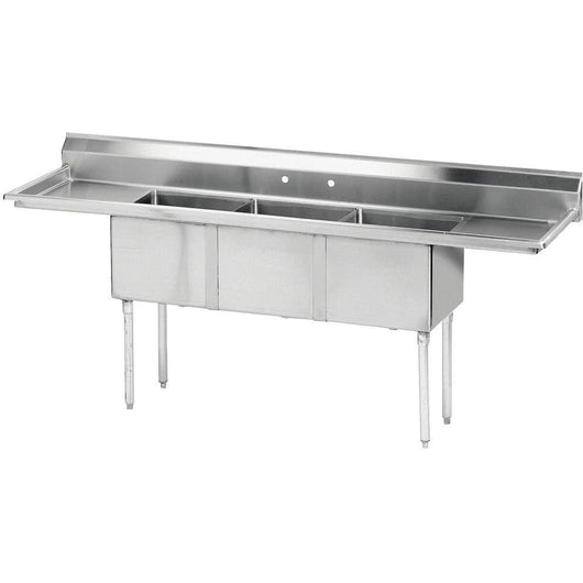 Stainless Steel 3 Compartment Sink 90
