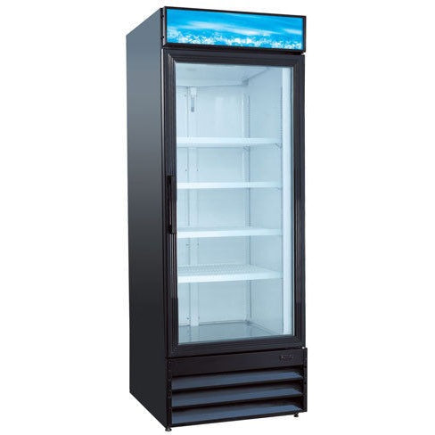 Commercial Swing Glass Door 28″ Merchandiser Refrigerator – 1 Door, Black - Commercial Kitchen USA