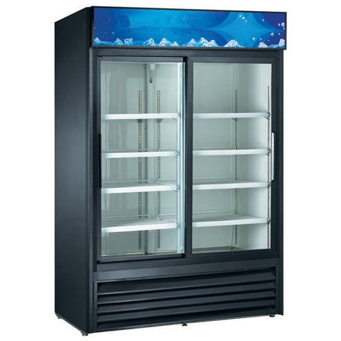 Commercial Sliding Glass Door 53″ Merchandiser Refrigerator – 2 Door, Black - Commercial Kitchen USA