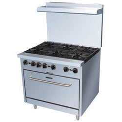 Commercial Kitchen Stainless Steel 6 Burner Range 210,000 BTU with Oven - Commercial Kitchen USA